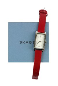 Skagen Denmark Red Leather Watch
