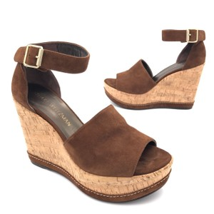 Stuart Weitzman New York Summer Signature Ankle Strap Leather Brown Wedges