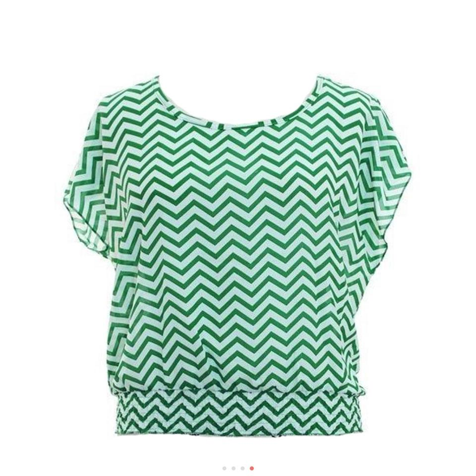 Jon Anna Blue Or Green Red Is Sold Out Womens Chevron Zig Zag Blouse 12345678