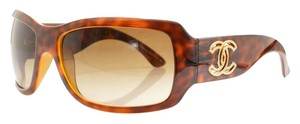 Chanel Chanel 6018 Brown Tortoise Rectangle Wrap Shield Gradient Sunglasses