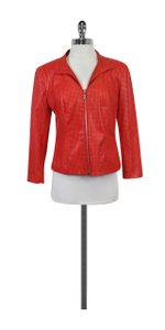 Peter Nygard Red Orange Faux Leather Jacket