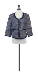 Doncaster Blue & Tan Woven Open Front Jacket