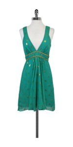 MILLY short dress Turquoise Gold Spotted Silk on Tradesy