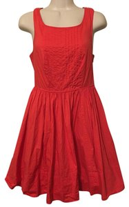 Moulinette Soeurs short dress Orange/Red Anthropologie Pleated Lace Sleeveless on Tradesy