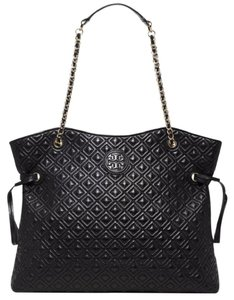 Tory Burch Quilted Leather Large Marion Tote in Black