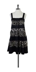Diane von Furstenberg short dress Black Cream Floral Print on Tradesy