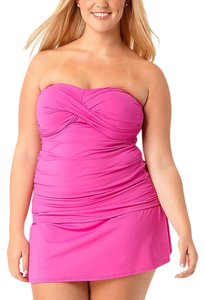 Anne Cole Twist Front Strapless Skirted Tankini Swimsuit 18W