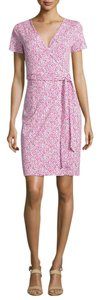 Diane von Furstenberg short dress Pink Floral Dvf White on Tradesy
