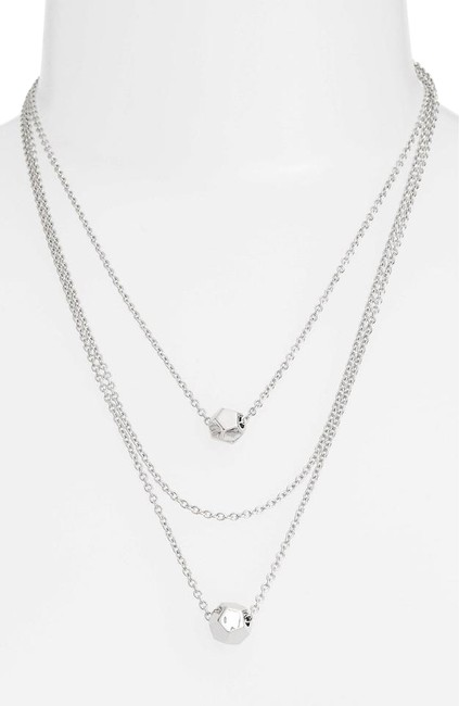 Item - Silver 'cube Multichain' Station Necklace