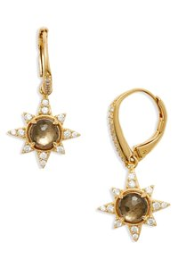 Nadri Holiday Star Drop Earrings Soky Quartz Pyrite Gold
