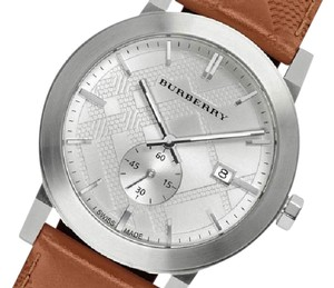 Burberry Men's The City Brown Swiss Silver Dial Brown Leather 42mm Watch BU9904