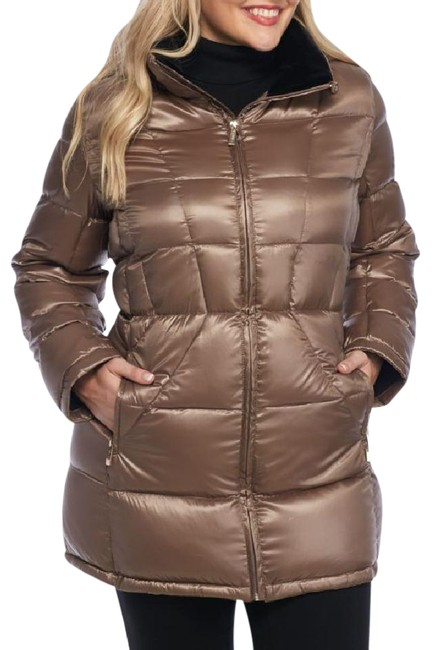 Item - Shine Taupe Women's Zip Up Puffer Jacket with Hood Coat Size 16 (XL, Plus 0x)