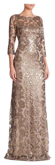 Item - Smoke Pearl Sequin Lace Gown Long Formal Dress Size 14 (L)
