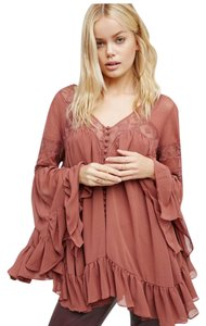 Free People All Night Button Down Lace Sz Small Spice Top