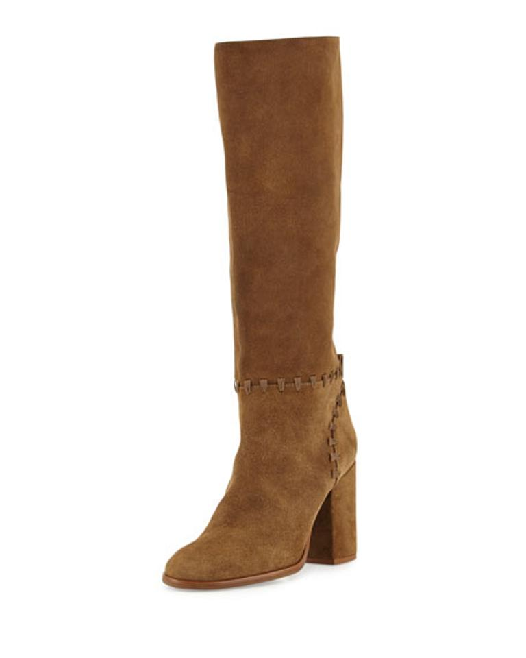 Tory Suede Burch Brown Whipstitch Contraire Suede Tory Trim Knee Boots/Booties 697803