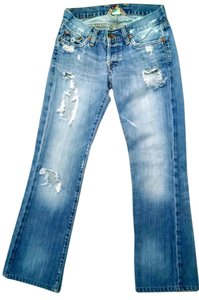 Lucky Brand Destroyed Size 0 Boot Cut Jeans-Medium Wash