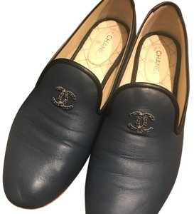 Chanel Navy Blue Loafers navy blue Flats