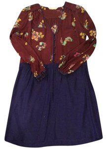 Rebecca Taylor short dress maroon and blue on Tradesy