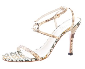 Gucci Ankle Strap Gg Hardware Python Gold, Beige, Ivory, Brown Sandals