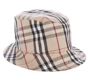 Burberry Beige, red multicolor Burberry Nouse Check print fedora hat