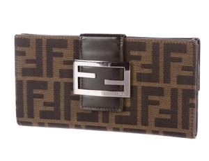 Fendi Brown, beige Zucca monogram print canvas Fendi wallet