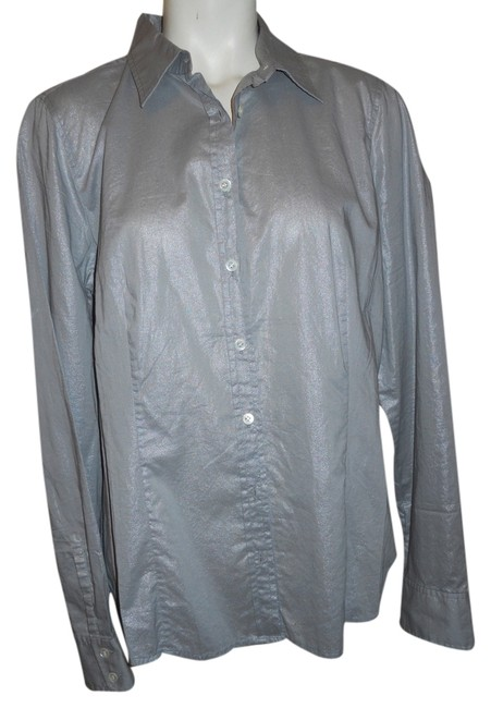 Preload https://item3.tradesy.com/images/jcrew-grey-stretch-cotton-button-down-top-size-12-l-2117212-0-0.jpg?width=400&height=650
