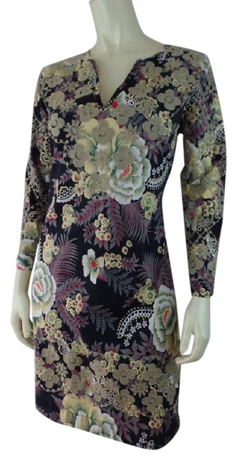 Item - Gray Yellow Green Red Black 36 Floral Cotton Lycra Pullover Multicolor Embroidery Short Casual Dress Size 6 (S)