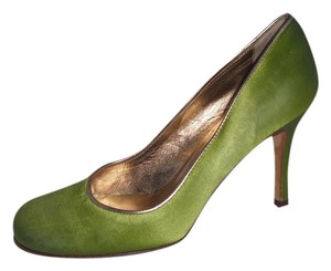 Kate Spade Lime Silk Gold Leather Green Pumps