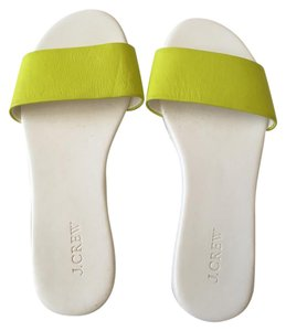 J.Crew Slip-on Leather Chartreuse green/white Sandals