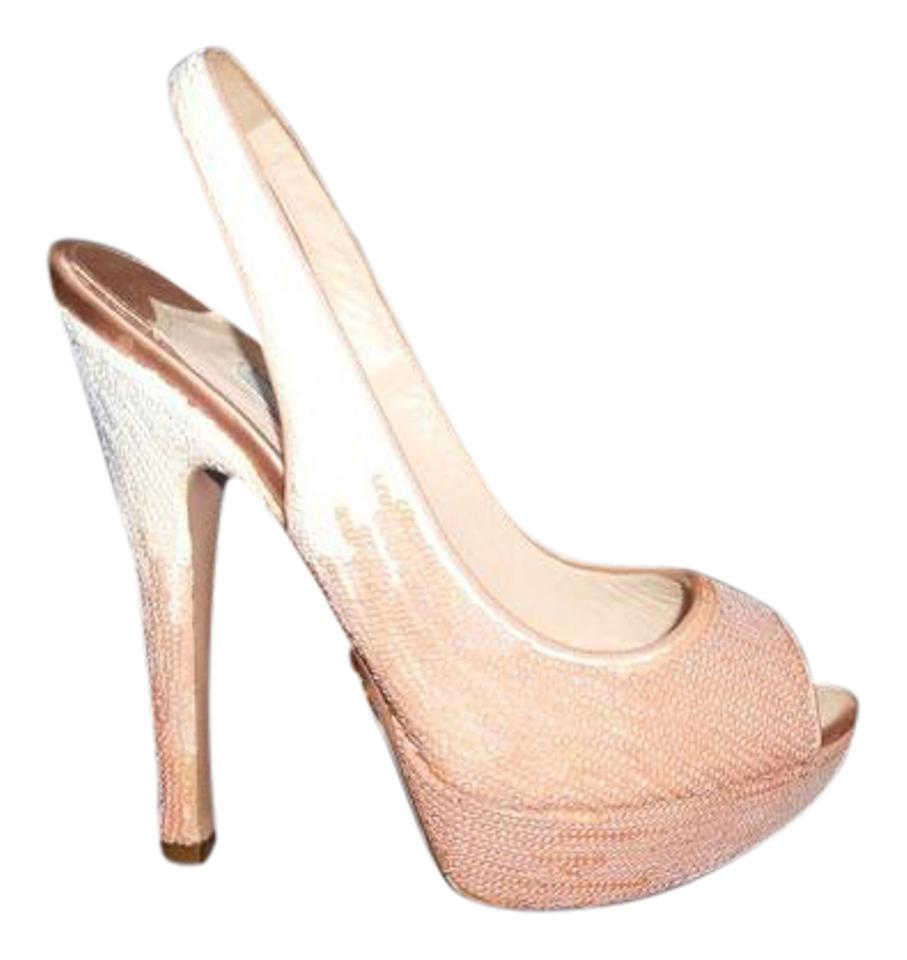 sale usa online new product free shipping Prada Nude/Light Pink Sequin Paillette Open Toe Slingback Platform ...
