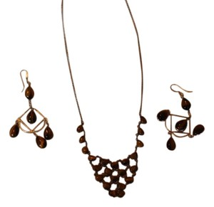 92.5 Sterling Tiger Eye Sterling SIlver Necklace & Earring Set
