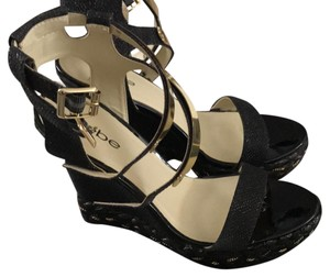 bebe black Wedges