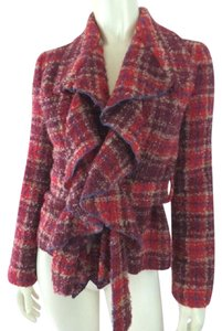 Anthropologie Boucle Tie Waist Fuzzy Ruffle Red, Maroon, Plaid Jacket