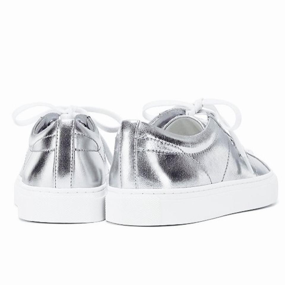 76b2cf51177cb3 Tory Burch Chace Metallic Silver Napa Leather Lace Up Sneakers Sneakers  Size US 11 Regular (M