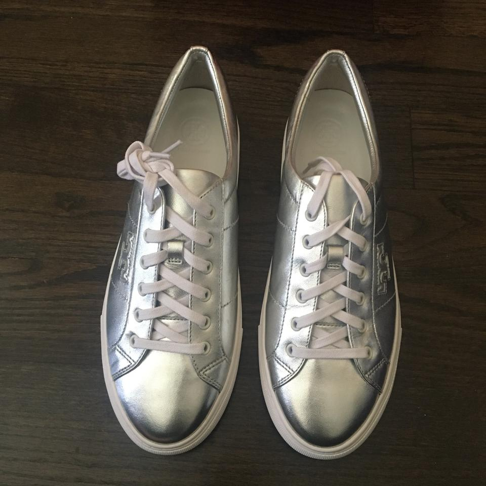 e028a57c0a57d0 Tory Burch Chace Metallic Silver Napa Leather Lace Up Sneakers ...