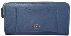 Coach Coach ACCORDION ZIP WALLET IN LEATHER Blue Silver Tone 56718 58441