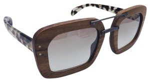 Prada Square Wood and Brown Tortoise Prada Sunglasses SPR 30R 51