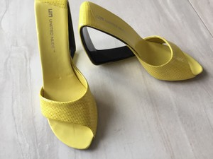 United Nude Open Leather Patent Leather Sandal Yellow Wedges