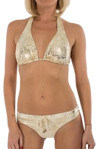 Balmain Balmain Metallic Gold Snake Print Halter Bikini Swimsuit US S / IT 42
