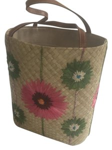 Kate Spade Tote in straw, pink/green