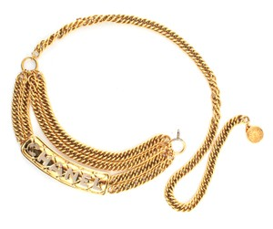 Chanel #11376 CC long logo cutout multiple chain gold necklace belt two way