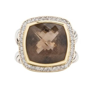 David Yurman Albion Ring with Smoky Quartz and Diamonds with 18K Gold