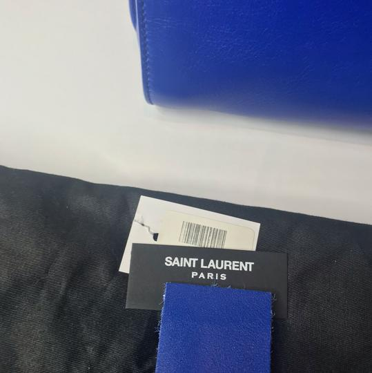 Saint Laurent Ysl Yves Sac De Jour Leather Tote in Bright Blue