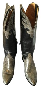 Lucchese Grey Crocodile and Black Leather Boots