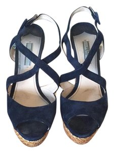 Prada navy Wedges