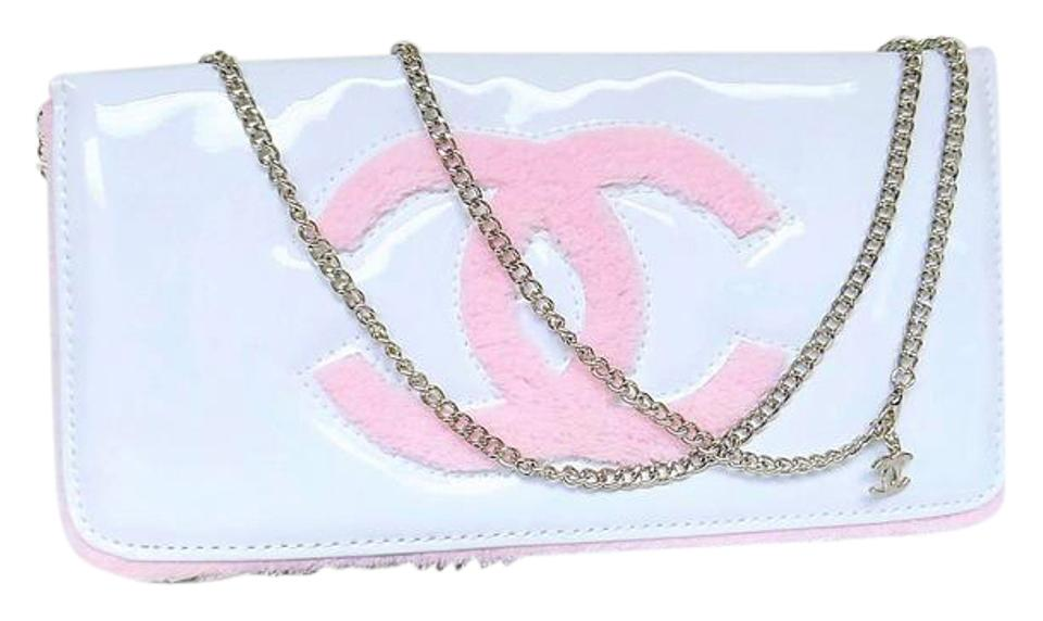 fa55887b922d Chanel Beaute Purse Clutch Hardware Chain New White Pink Vinyl ...