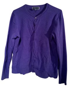 Karen Scott Cotton Cardigan Layer Violet Sweater