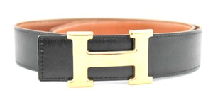 Herms Black and Cognac Reversible 32mm Constance Belt