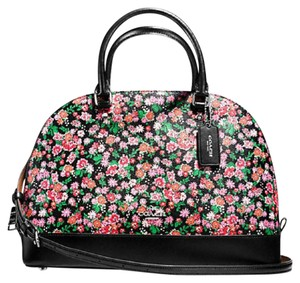 Coach Cora Domed Border Studed 37238 Satchel in SILVER/PINK Black MULTI