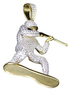 Other Sterling Silver Simulated Diamond Soldier Pendant Charm Yellow Gold Fi